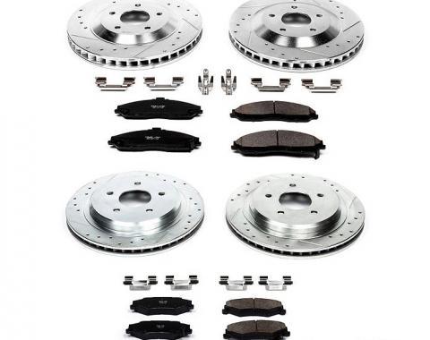 Corvette Drilled & Slotted Brake Rotors F&R, Ceramic Pads, 1997-2004