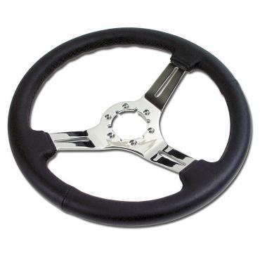 Corvette Steering Wheel, Black Leather, With Chrome Aluminum 3-Spokes, 1963-1975 & 1977-1982