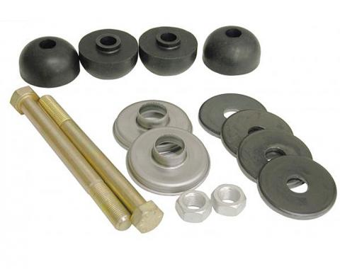 Corvette Rear Leaf Spring Bolt Kit, Stock Length, With Rubber Cushions, 1963-1982
