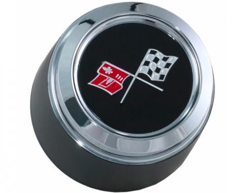 Corvette Wheel Center Cap, Black, With Emblem, For Cars With Aluminum Wheels, 1976-1979