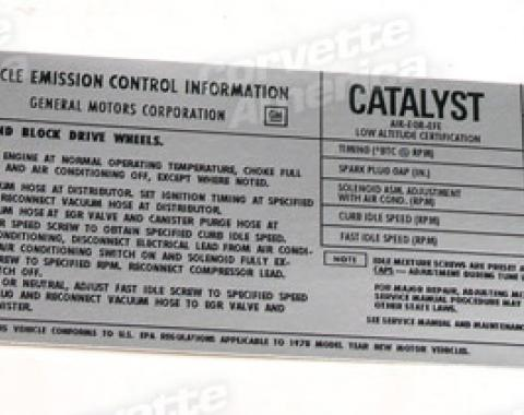 Corvette Decal, Emission L82, 1978