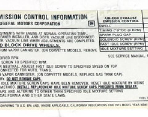 Corvette Decal, Emission L82, 1973