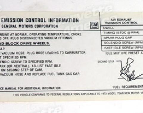 Corvette Decal, Emission 454, 1972