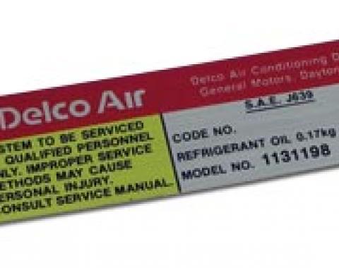 Corvette Decal, Air Conditioning Compressor Delco, 1980