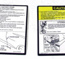 Corvette Instructions, Jacking 2 Piece Set, 1979-1981