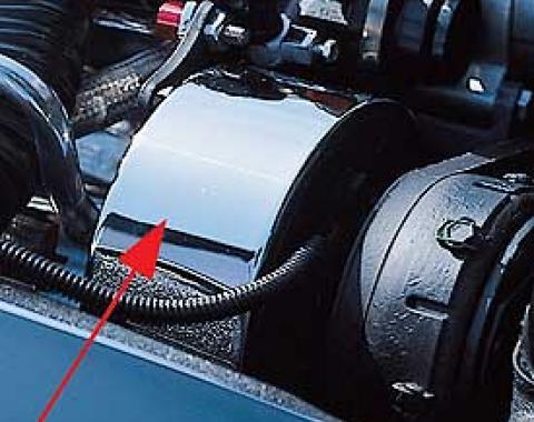 Corvette Air Conditioning Compressor Cover, Chrome, 1977-1987