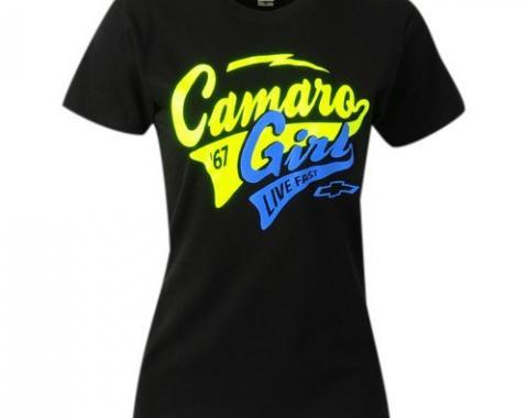 Camaro Girl, Live Fast T-Shirt, Black