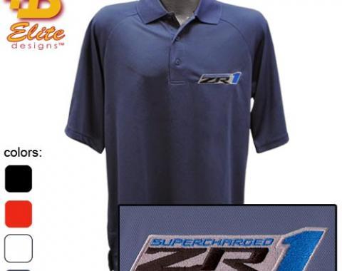ZR1 Corvette Emblem Mens Performance Polo Shirt, Black, X-Large