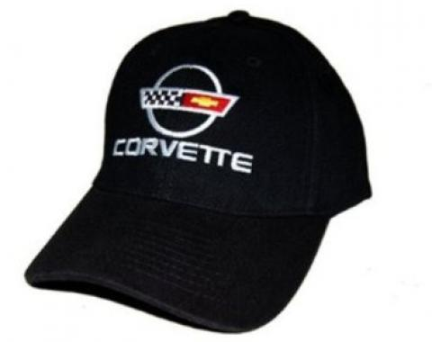 C4 Corvette Black Low Profile Cotton Brushed Twill Hat