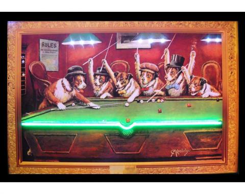 Neonetics Neon/led Pictures, Dogs Playing Pool Neon/led Picture
