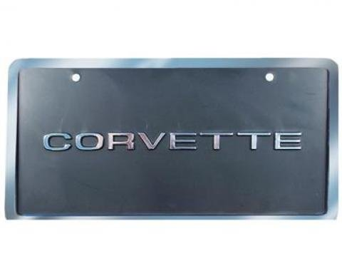 Corvette License Plate, Corvette Black & Silver with Border, 1953-1979