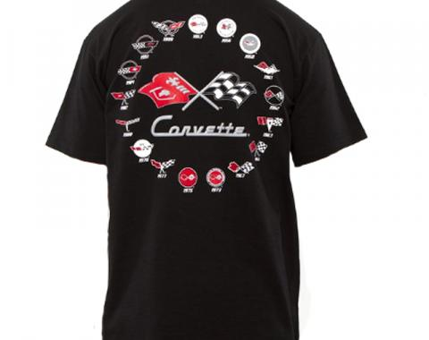 Corvette 5 Generation T-Shirt, Black