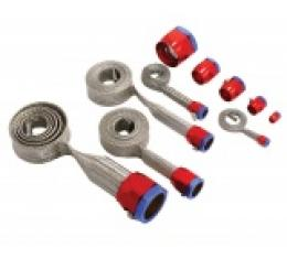 Corvette Hose Cover Kit, Universal, Stainless Steel, With Red & Blue Clamps