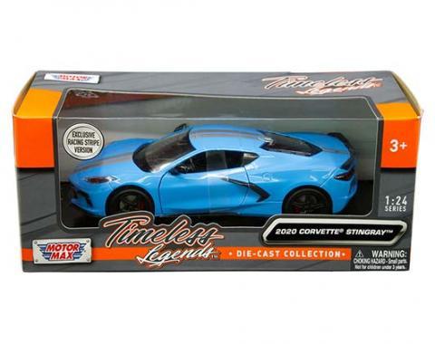 Motormax Timeless Legends 2020 Corvette C8 Stingray with Racing Stripes, Blue