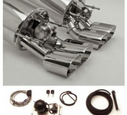 Corvette Exhaust System, With Quad Oval Tips & Control Kit, Fusion, B&B, 2005-2008