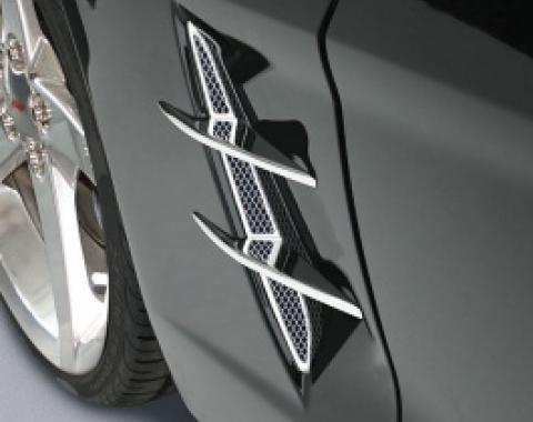 Corvette Side Fender Screen & Dual Blade Set, Billet Aluminum, Chrome, 2005-2013