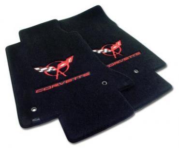 Corvette Mats, Black with Red C5 Logo & Script, 1997-2004