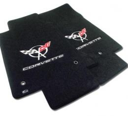 Corvette Mats, Black with Silver C5 Logo & Script, 1997-2004