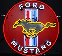 Neonetics Standard Size Neon Signs, Ford Mustang Red Neon Sign with Backing