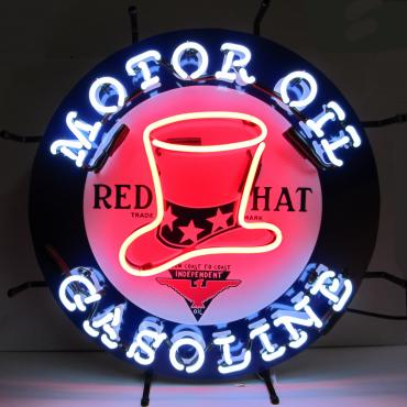 Neonetics Standard Size Neon Signs, Gas - Red Hat Gasoline Neon Sign