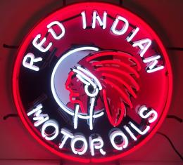 Neonetics Standard Size Neon Signs, Gas - Red Indian Motor Oils Neon Sign