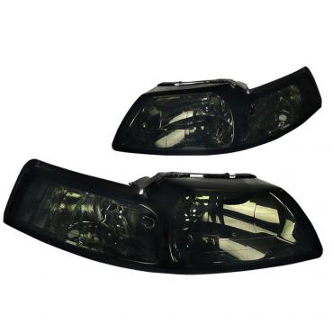 Ford Mustang Replacement Headlights with Smoked Lenses, 1999-2004