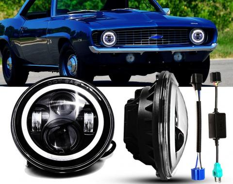 Camaro Headlight, 7 Inch Round LED with Halo DRL and Turn Signals, 1967-1981