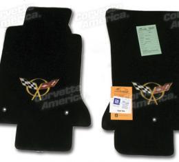 Corvette Mats, Black with Gold Applique, 1997-2004