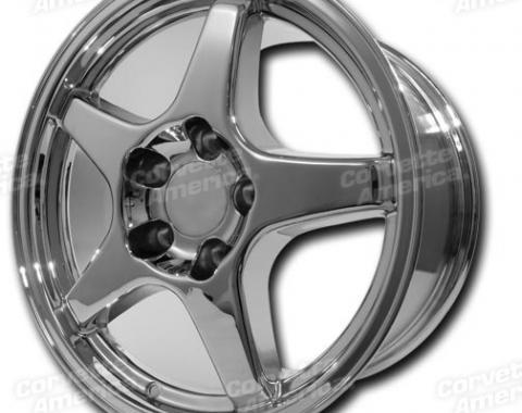 "Corvette Wheel, ZR1 Style Chrome 17"" x 9.5"" 38mm Offset, 1984-1987"
