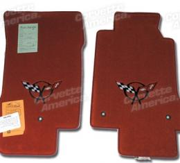 Corvette Mats, Torch Red with Black Applq, 2000-2004