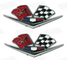 Corvette Fender Emblems, Crossed-Flags, Replacement, (63 Early), 1962-1963