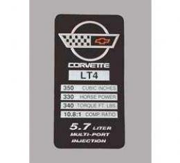 Corvette Console Performance Specificatons Plate, LT4, 1996