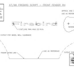 Classic Headquarters Firebird Front Fender Script W-828
