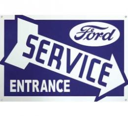 Ford Service Entrance Sign, Single Sided, Arrow Points Right, 34 x 20