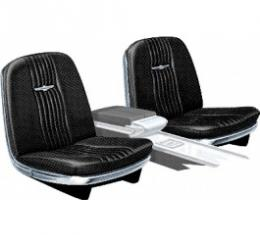 Ford Thunderbird Front Bucket Seat Covers, Vinyl, Black #23, Trim Code 26, Without Reclining Passenger Seat, 1965