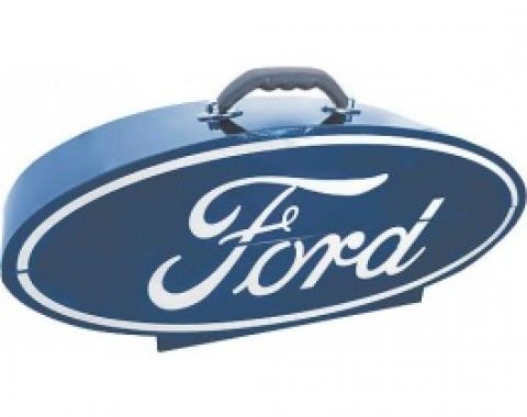 GoBox, Steel, Powder-Coated Blue Finish With A White Ford Logo, 26 Wide x 10 High x 7 Deep