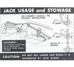 Jack Instructions Decal, 1968 Thunderbird