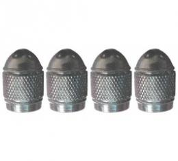 Valve Stem Caps, Aluminum, Bullet Shaped, Knurled Center, Black, Set Of 4