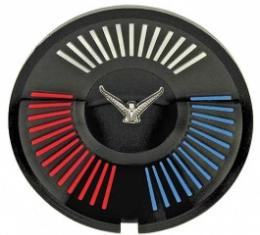Ford Thunderbird Wheel Spinner Emblem, Black Background, Chrome Bird With Red & White & Blue Accents, 1965