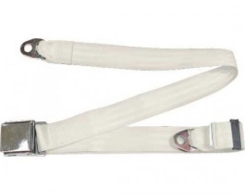 "Seatbelt Solutions 1949-1979 Ford | Mercury Lap Belt, 74"" with Chrome Lift Latch 1800749000 | White"