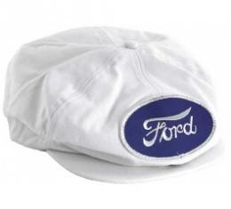 Driving Cap, Gatsby Style, White, With Ford Script Patch