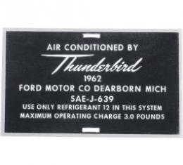 Ford Thunderbird Air Conditioner Hose Tag, Aluminum, 1962
