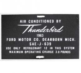 Ford Thunderbird Air Conditioner Hose Tag, Aluminum, 1963