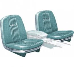 Ford Thunderbird Front Bucket & Rear Bench Seat Covers, Full Set, Vinyl, Light Turquoise #25, Trim Codes 57 & 57A & 57B, Without Reclining Passenger Seat, 1964