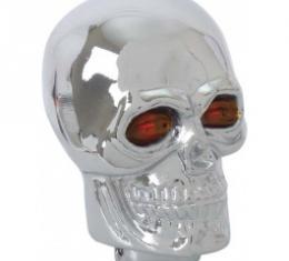 Shift Knob, Chrome Skull With Flaming Red Eyeballs, 1955-79
