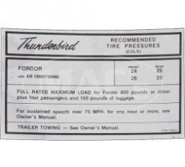 Fordor Tire Pressure, 1967 Thunderbird