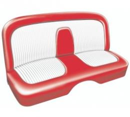 Ford Thunderbird Seat Covers, Fiesta Red With White Inserts, Plain, 1956