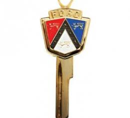 Ford Thunderbird Anniversary Key Blank, Gold With Red White And Blue Ford Crest, 1955-64