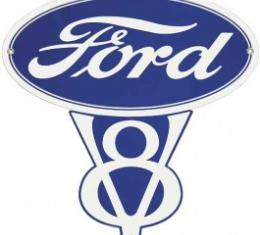 Ford V8 Sign, Single Sided, 29 x 29-1/4
