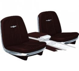 Ford Thunderbird Front Bucket & Rear Bench Seat Covers, Full Set, Vinyl, Burgundy #46, Trim Code 23, Without Reclining Passenger Seat, 1965